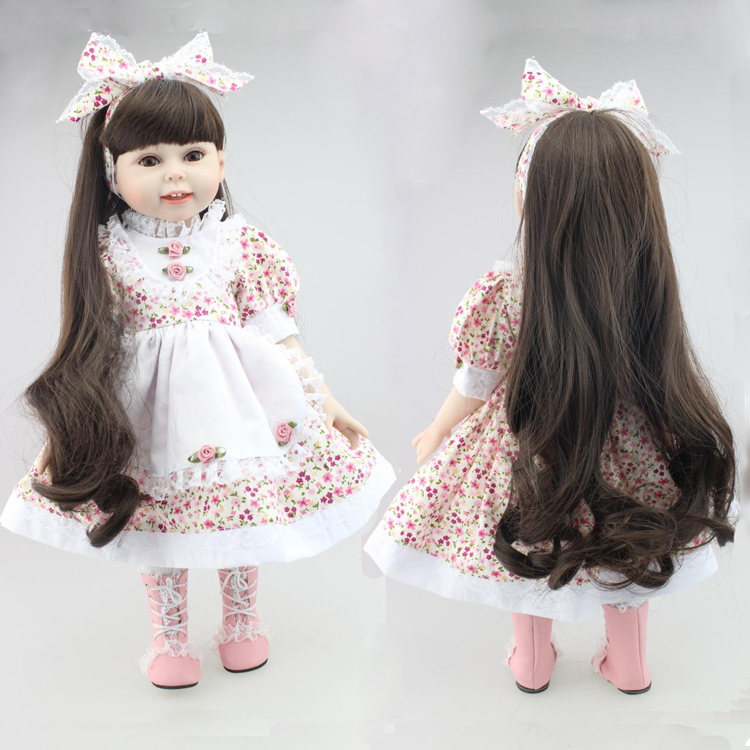 45cm Quality Silicone babies cute Collection Silicone lifelike baby doll with dress for girl birthday gift