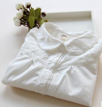 2019 Blusa Da Menina Da Criança Meninas de algodão Coreano Camisa branca Primavera Outono das Crianças Lace Boneca Collar Longo-sleeved Tops MMX M12