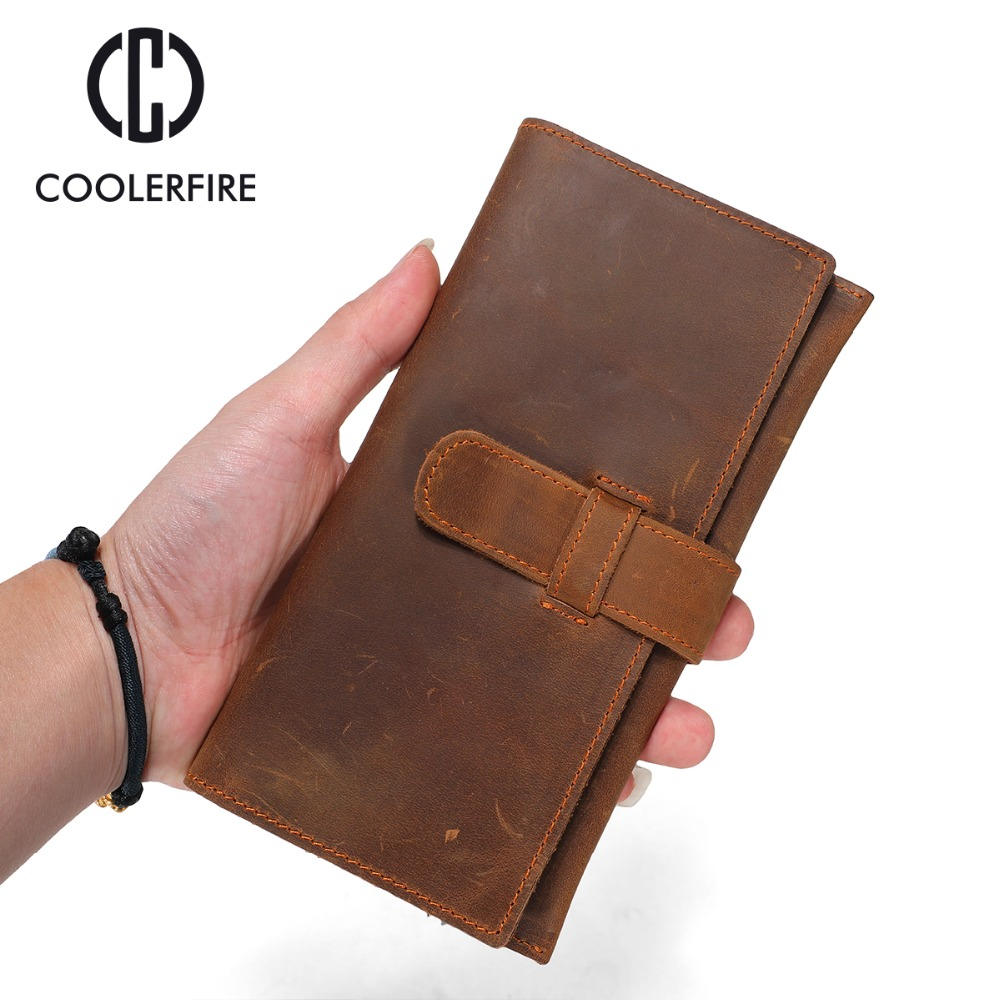 New Design Men Wallet Genuine Leather Brand Small Money Purses Wallet crazy horse leather  Bag Long thin wallet  PJ003 Ремень безопасности