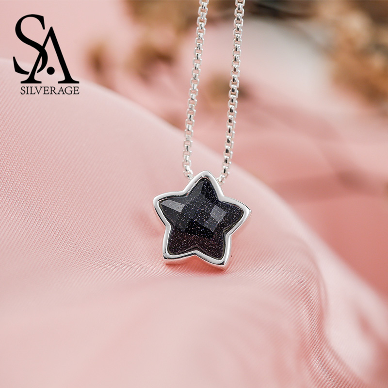 SA SILVERAGE 2019 Ketting Choker Necklace Real 925 Sterling Star Pendant Fine Jewelry Vintage Pendants For Women Without Chain