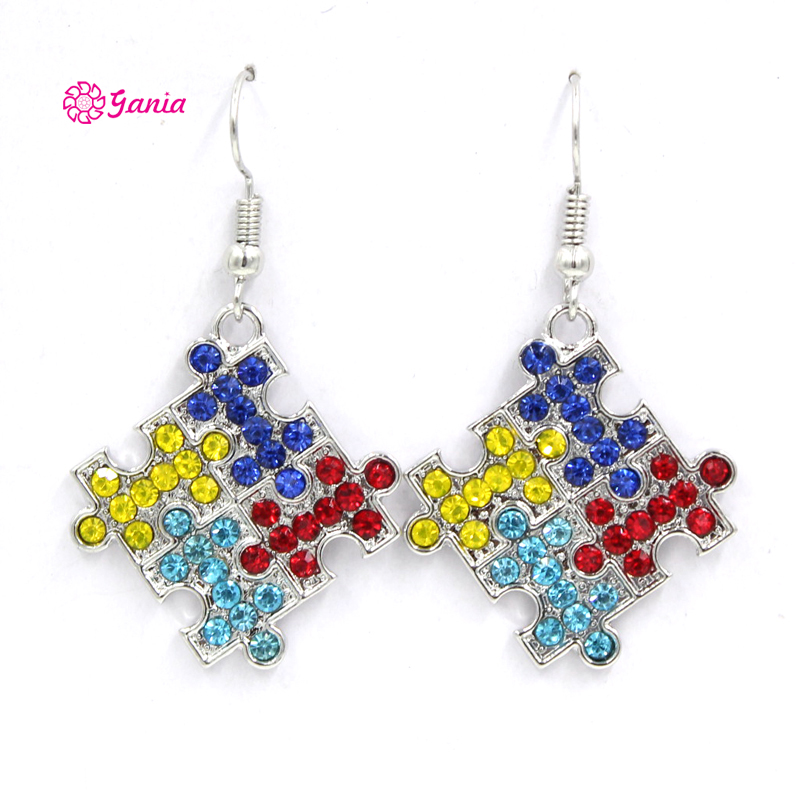 1PRS New Arrival Puzzle Autism Awareness Jewelry Rhinestone Puzzle Autism Earrings Bijoux Brinco boucles d'oreille(China)