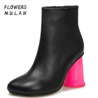 New Designers Square Toe Women Ankle Boots Black White Leather Upper Strange Cup Heel Fashion Show Botas Woman Side Zip Shoes