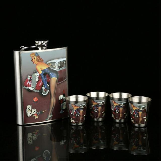 Stainless Steel Hip Flask Set with Bonus Funnel, Shot Glasses & Gift Box