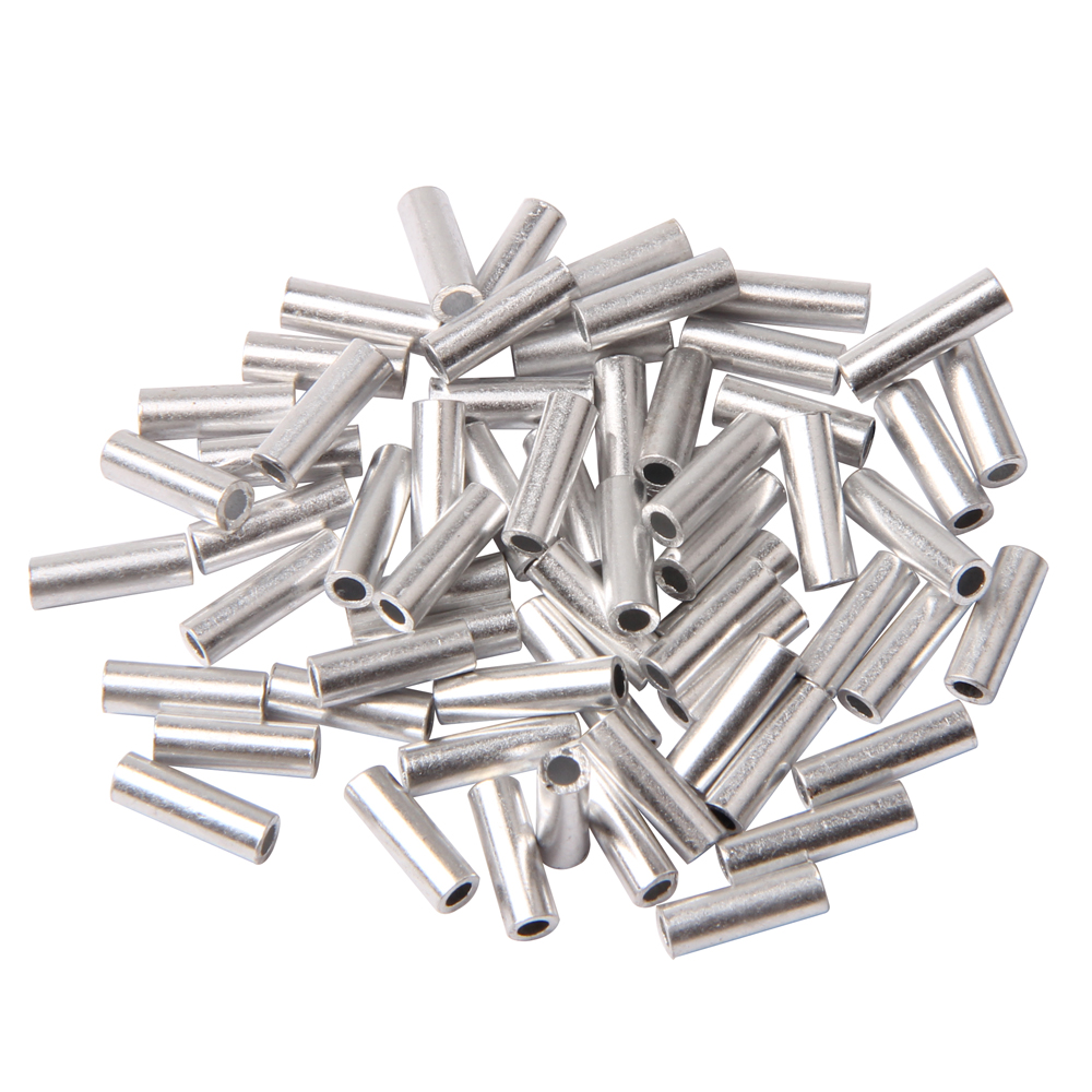 300Pcs White Round Aluminum Fishing Tube Fishing Wire Pipe Crimp Sleeves Connector Fishing Line Accessories Size 1.0mm-2.0mm