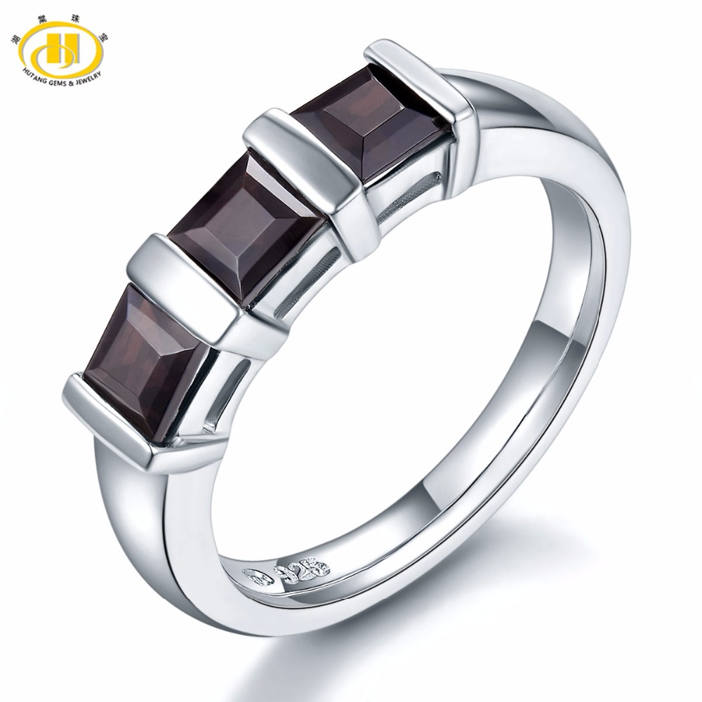 HUTANG 3-Stone Natural Black Garnet Solid 925 Sterling Silver Ring Gemstone Fine Stone Jewelry Women's Christmas Gift New