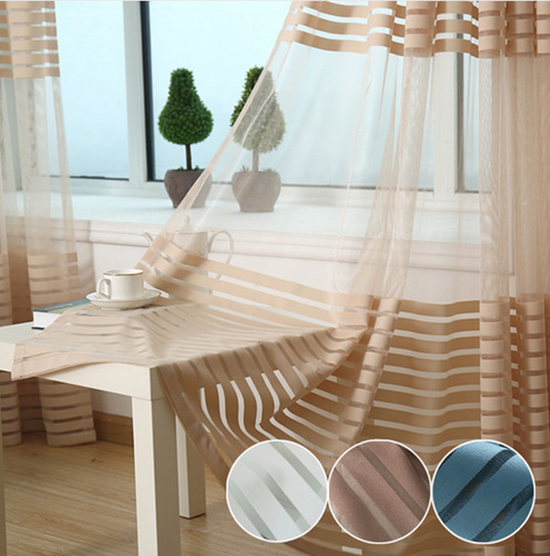 cafe curtains for living room striped sheer voile tulle window screening blinds gauze 18490