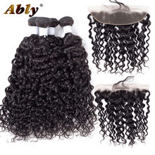 Ably Hair Malaysian Water Wave Bundles With Closure Remy Hair Lace Frontal With Bundles Deal Human Hair Bundles With Frontal(China)