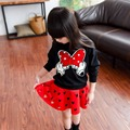 Children's Kids Girls Printed Cartoon Long Sleeve Pullover Sweatshirts Top+Tutu Skirts 2pcs Princess Clothing Sets Suits S3548