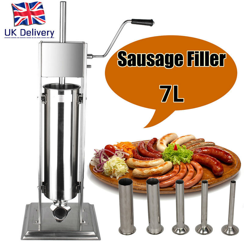 (Ship from Germany) 7L Household Commercial Stainless Meat Extruder Mince Sausage Stuffer Filler Maker Stainless Steel 5 funnels ship from germany 5l stuffer maker machine commercial sausage filling machine sausage stainless steel with 4 filling pipes
