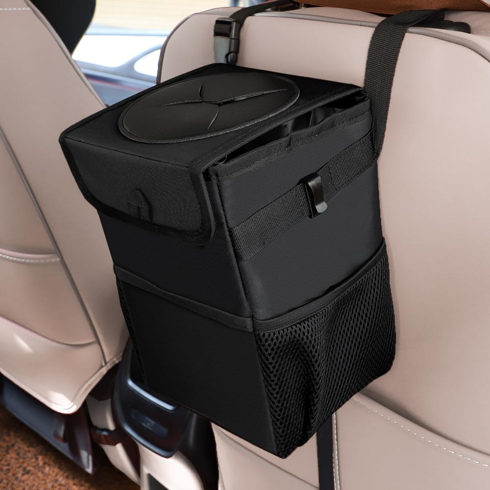 Auto Car Backseat Headrest Hanging Rubbish Trash Bag Garbage Can with Lid Waste Container Leak-Proof Storage Pouch