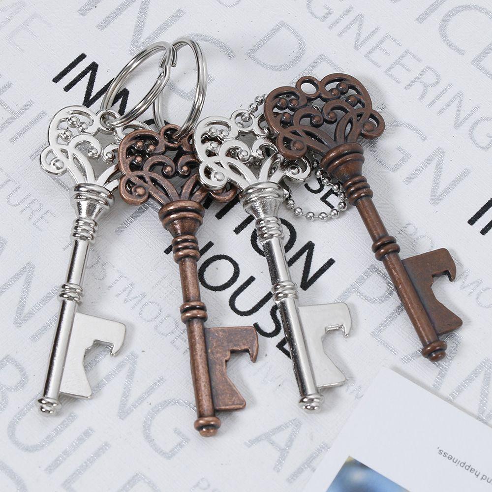 Key Shaped Bottle Opener Keychain Shaped Zinc Alloy Copper Silver Color Key Ring Beer Bottle Opener Unique Creative Gift