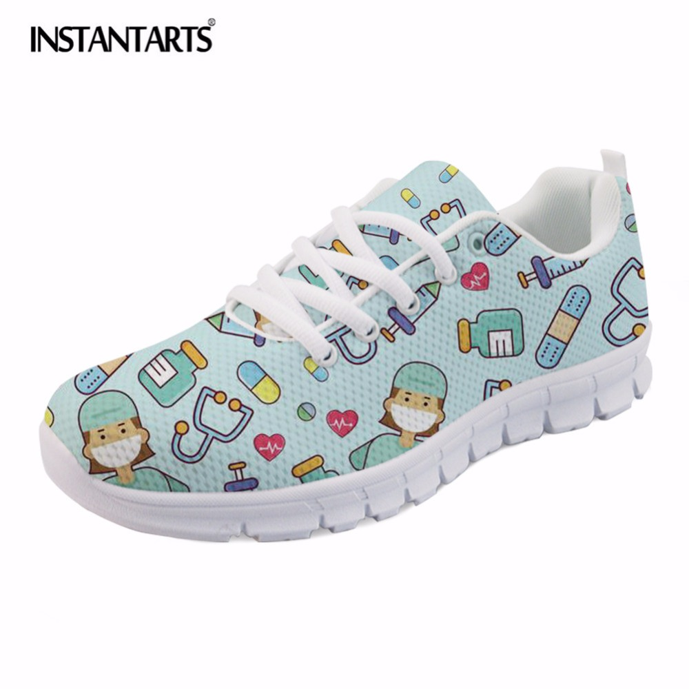 INSTANTARTS Cute Cartoon Nursing Printing Girls Flats Shoes Fashion Students Nurse Pattern Sneakers Casual Light Spring Footwear instantarts cute glasses cat kitty print women flats shoes fashion comfortable mesh shoes casual spring sneakers for teens girls
