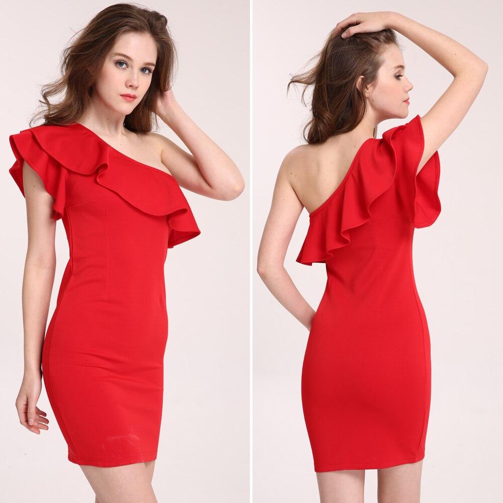 Beforw mujeres sexy dress vestidos de hombro atractivo del volante paquete delga