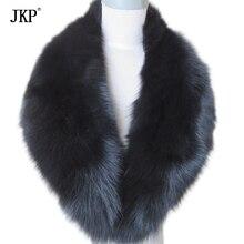 Воротник из натурального Лисьего меха, женский шарф из натурального Лисьего меха, зимний теплый меховой воротник-шарф черного цвета