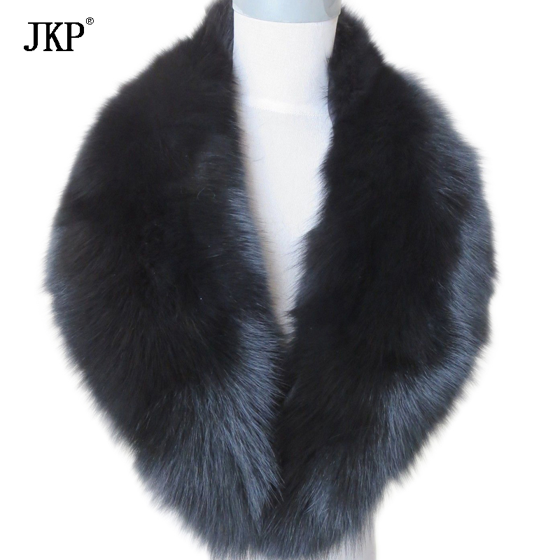 Real Fox Fur Collar Women 100% Natural Fox Fur Scarf Winter Warm Fur Collar Scarves Black