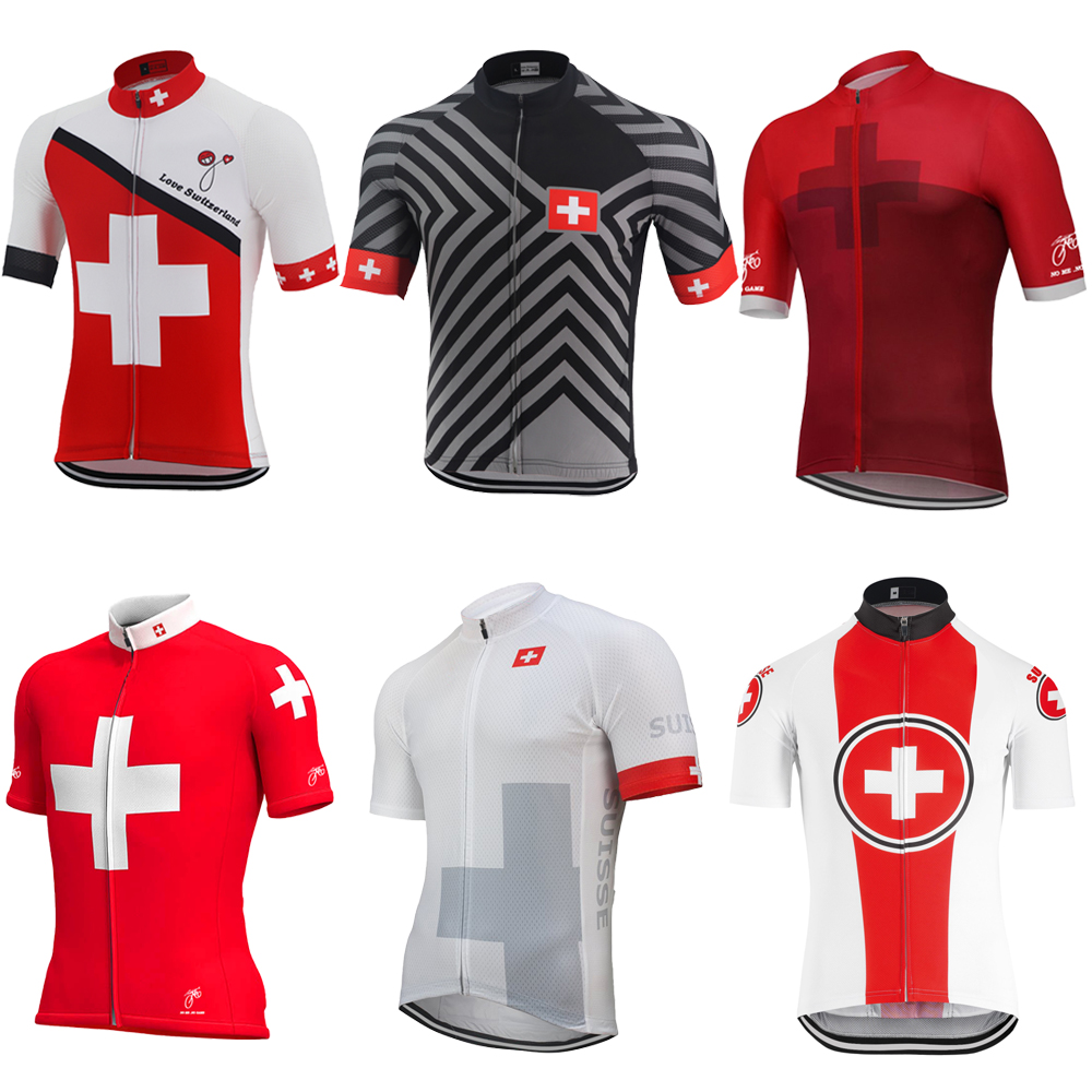 NOWGONOW cycling jersey red men summer Switzerland bike wear clothing flag road Mountain pro racing 16 style(China)