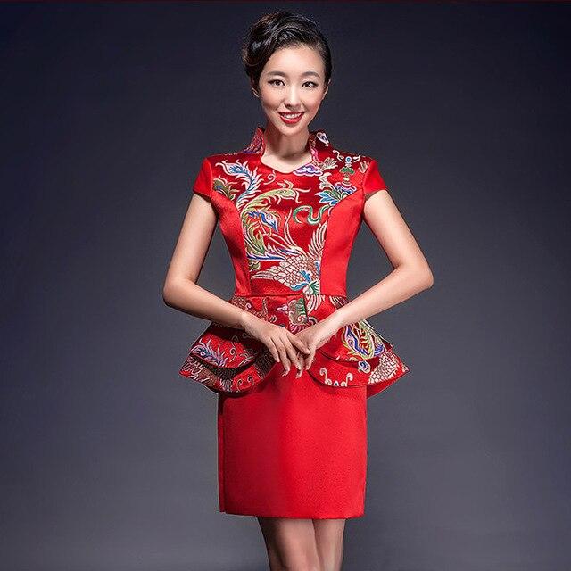 2016 Fashion Bride Cheongsam Chinese Red Wedding Dress Chinese ...