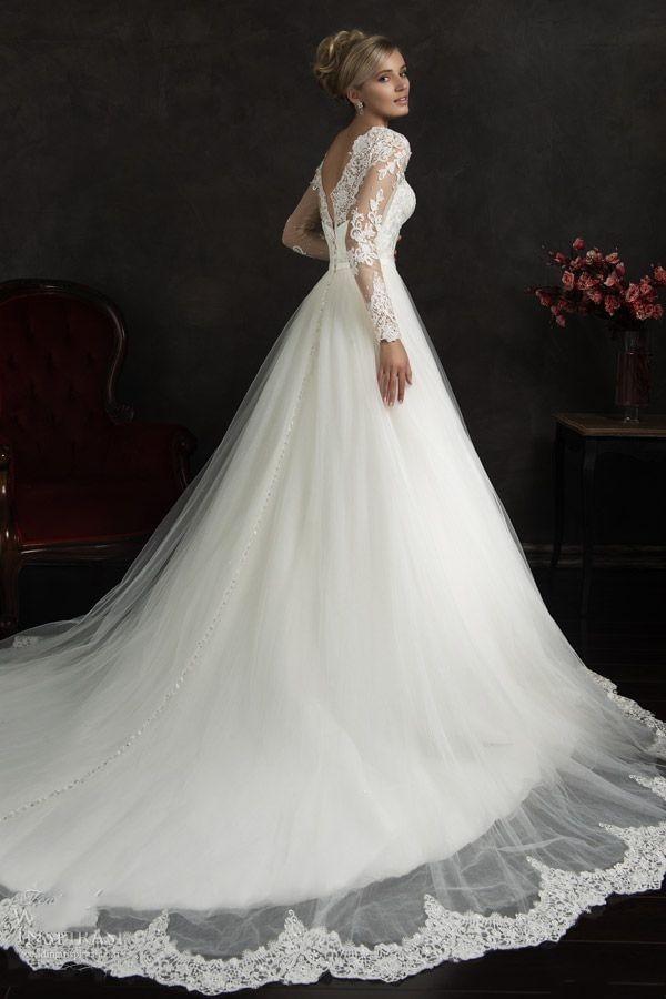 Aliexpress.com Comprar Modestos vestidos de novia para mangas largas de encaje transparente tren capilla de boda vestidos cuello alto por encargo vestidos