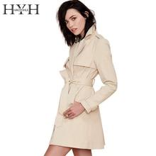 HYH HAOYIHUI Brand New  Womens 2017 Winter Trench Coat Lapel Long Sleeve Ladies Tie Waist Casual Long Outerwear Coats