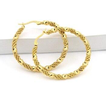 Fashion Jewelry Double Cable Hoop Earrings 3 Size Brand Earrings For Women Gold Colour Hoop Earrings Brincos Europe Punk