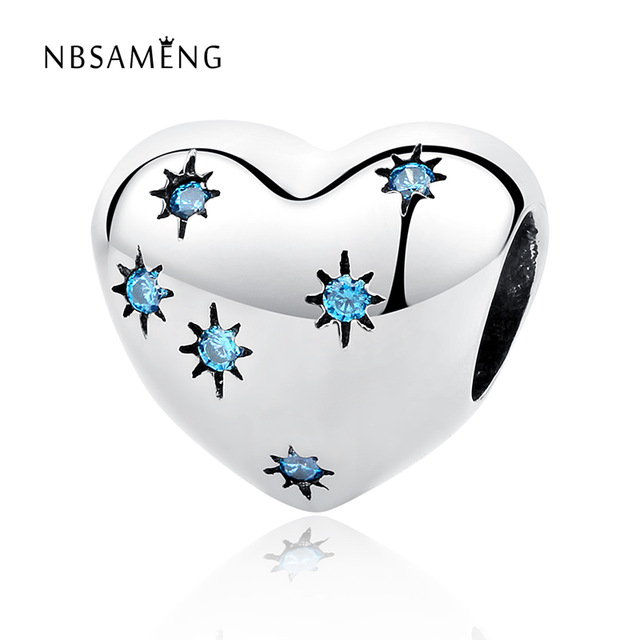 100% Authentic 925 Sterling Silver Heart Shape Crystal Charm Beads Fit Pandora Charm Bracelet DIY Original Silver Jewelry