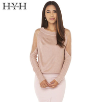 HYH Haoyihui Brand 2018 New In Mesh Patchwork Backless Sheer Women Sweaters Solid Color Knitted Female Tops Sexy Lady Pullovers