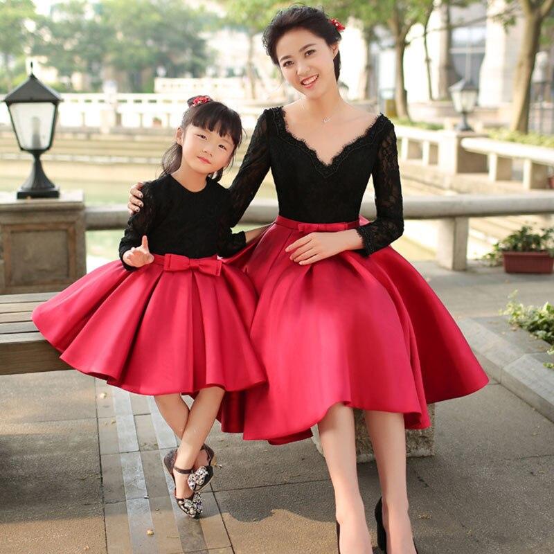 Robe bébé fille manches longues nœud tutu robe princesse robes de bal mère et fille robes dentelle fête famille correspondant vêtements