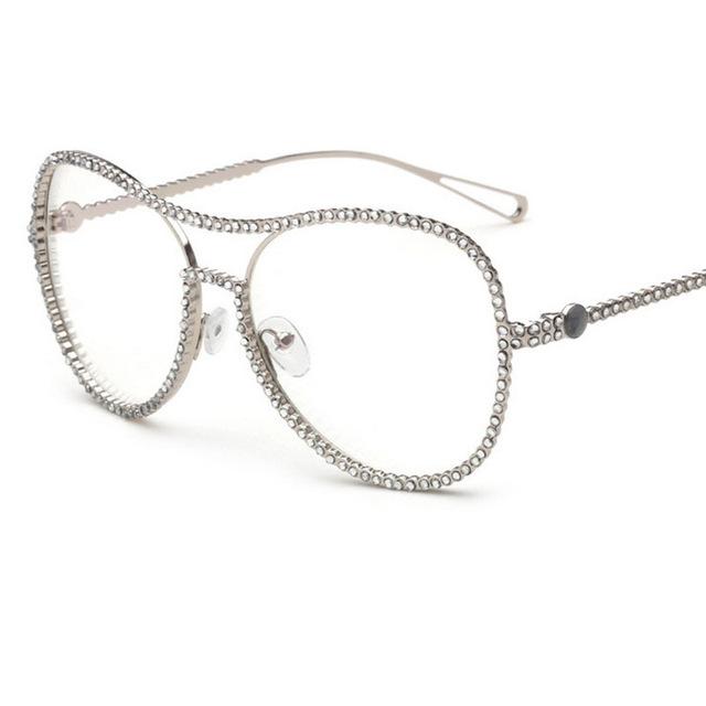 2016 de La Personalidad de diamantes Con Incrustaciones de Perla Anti-radiación Óptica Marcos de Las Lentes de Espejo Llano Mujeres Gafas Miopía Gafas de Fr