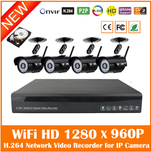 4pcs Wifi Wireless 960p Bullet P2p Ip Camera 4ch H.264 720p/960p/1080p Nvr Security Surveillance Cctv System Kit With 1tb Hdd