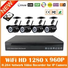 4 шт. Wifi Беспроводной 960 P Пуля P2p Ip-камера 4ch H.264 720 P/960 P/1080 P Nvr Видеонаблюдения Системы видеонаблюдения Комплект С 1 ТБ Hdd