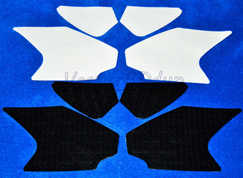 Motorcycle Black White Anti slip Fuel Protector Sticker Tank Pad Traction Side Gas Knee  ...