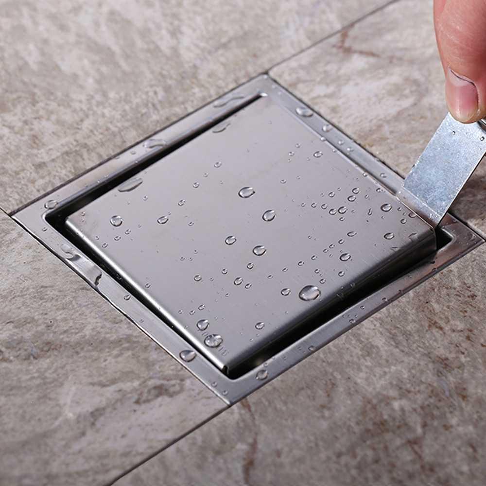 بلاط إدراج مربع الطابق استنزاف النفايات قضبان حمام دش استنزاف الخفية 110x110 ملليمتر ، 304 الفولاذ الصلب