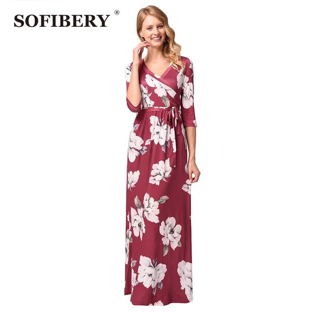 Sofibery Dress Women Vintage Maxi Dresses Y V Neck Womens Elegant High Waist Casual Flattering Party