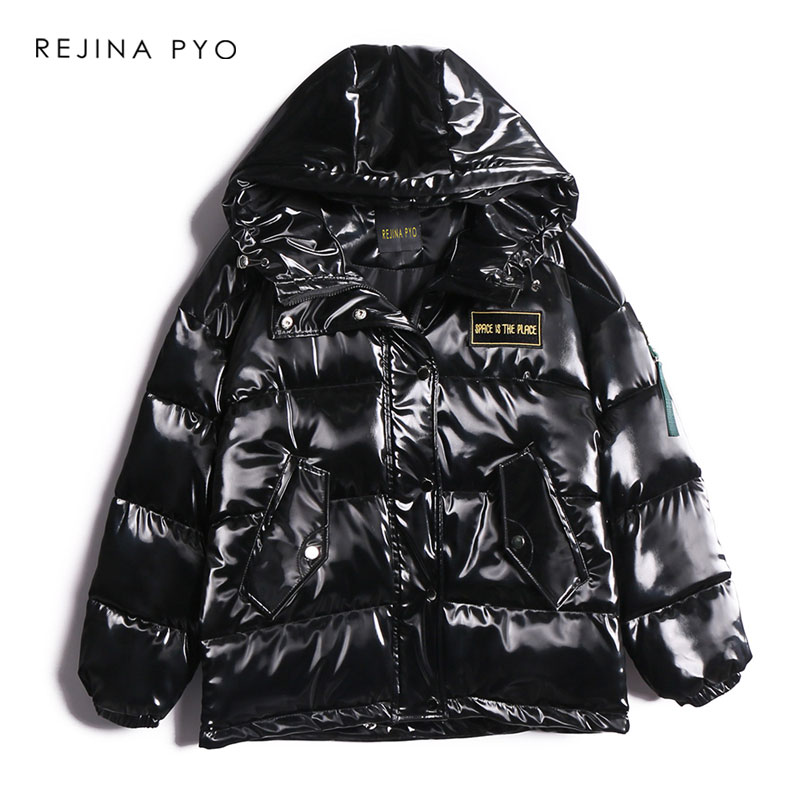 REJINAPYO Women Black PU Thick   Parkas   Letter Embroidery Women Winter High Quality Hooded   Parkas   Coar Warm Streetwear Coat