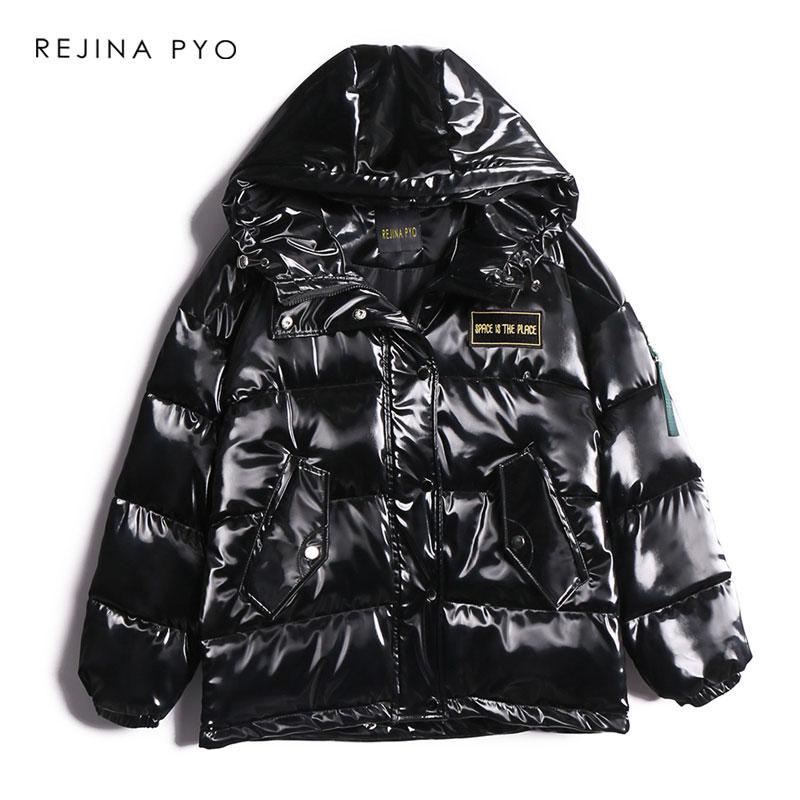 REJINAPYO Women Black PU Thick   Parkas   Letter Embroidery Women Winter High Quality Hooded   Parkas   Coar Warm Streetwear Coat
