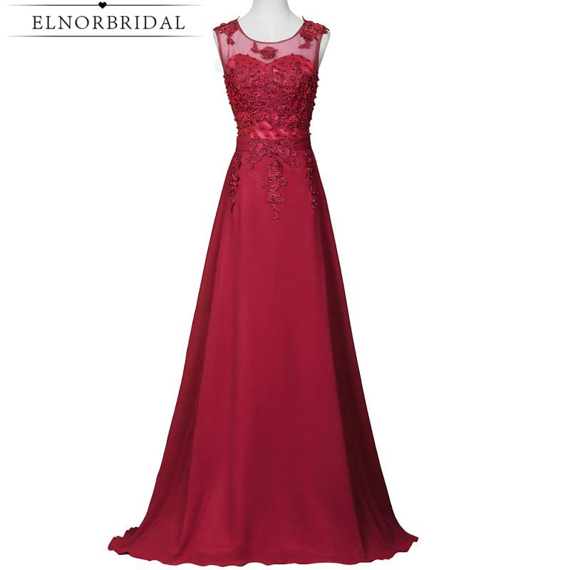 Burgundy Sheer Prom Dresses 2017 Vestido De Festa Long Imported Party Dress Formal Women Celebrity Evening Gowns Free Shipping