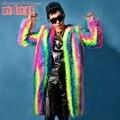 Homens Multicolor pena longo moda do revestimento do revestimento desgaste estágio Show de dança cantor Bar boate DJ traje do baile roupa Outerwear