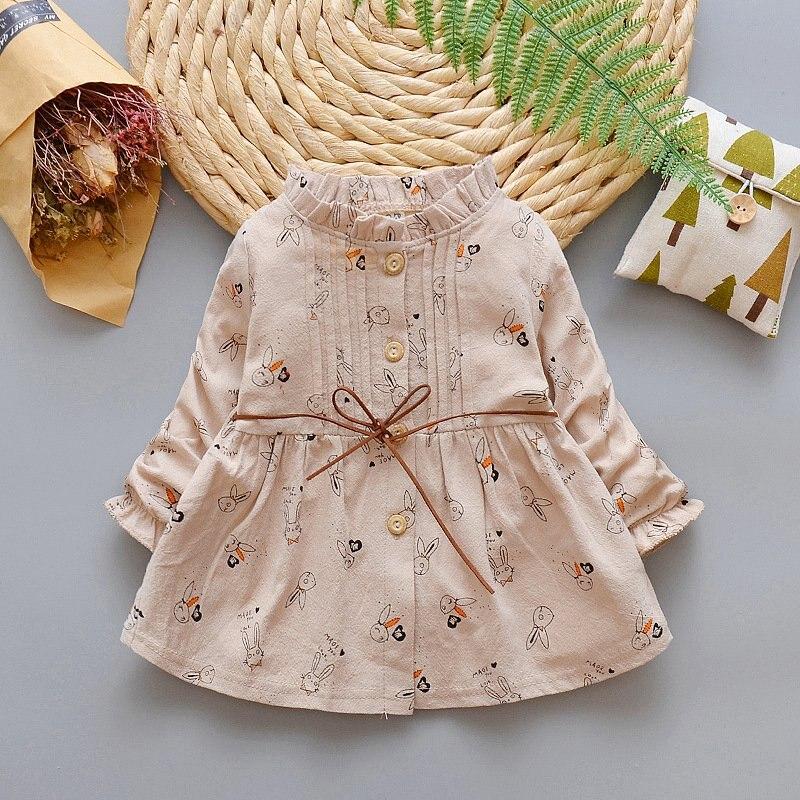 2018 spring autumn baby babi Childrens girl dress sweet Cartoon Small Rabbit Print tutu pricess party dress cardigan Y2952