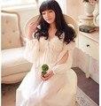 Moda Otoño Mujeres del Bordado de Lujo Camisón de Encaje Con Cuello En V Camisón de La Princesa Real de Manga Larga camisa de Dormir Sleepshirts