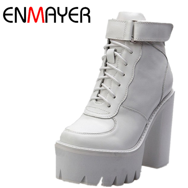 ENMAYER White Autumn Winter Fashion Martin Boots Female Boots Lace-Up Motorcycle High-heeled  Genuine Leather Boots Thick Heel