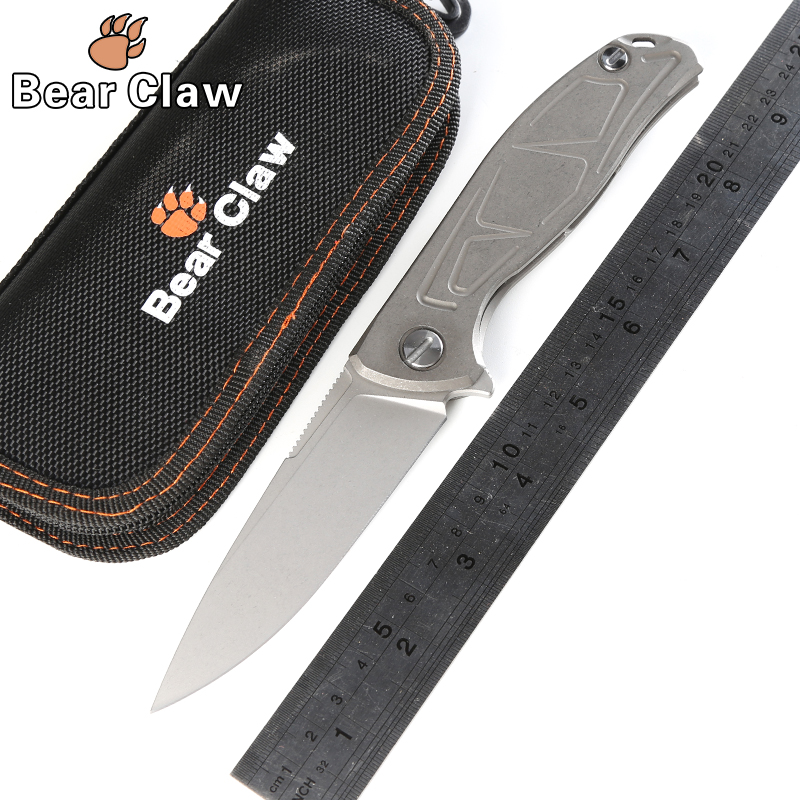 Bear Claw F95 Tactical Flipper folding knife KVT bearing D2 blade TC4 Titanium handle outdoor camping survival knives EDC tools ldt qse 13lt folding knife d2 blade titanium handle knives ball bearing outdoor pocket tactical rescue survival knife edc tools