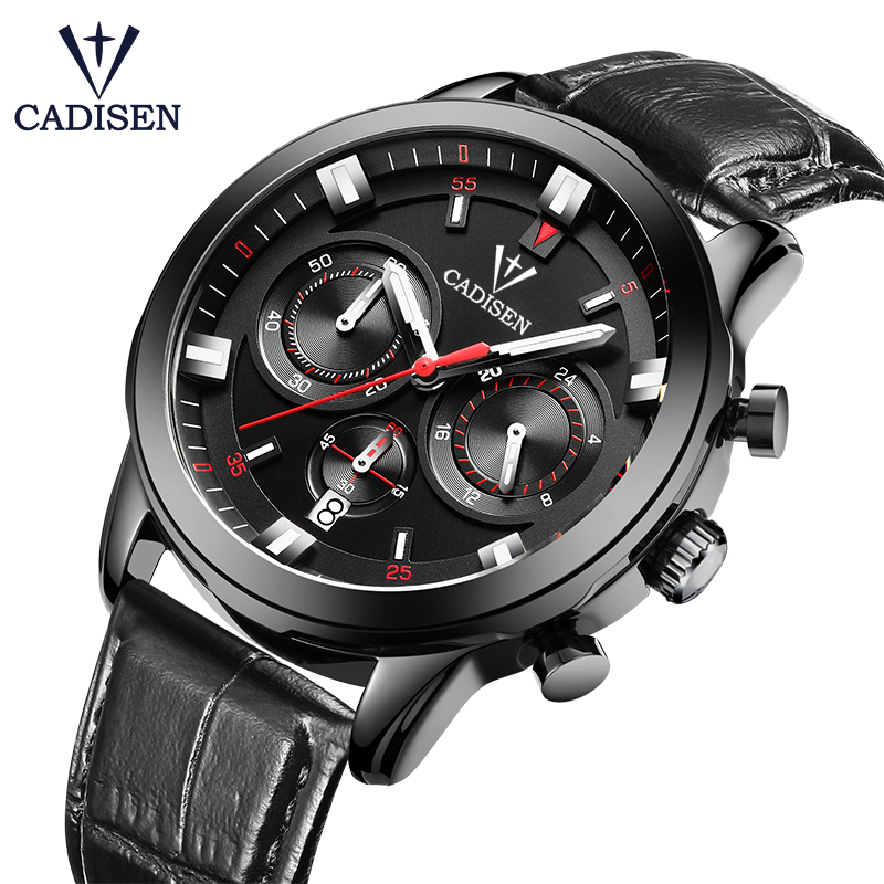 Cadisen Top Brand Mens Watches Quartz Army Waterproof Six-pin Watch Men Sport Military Wristwatches Steel relogio masculino 2017 new top fashion time limited relogio masculino mans watches sale sport watch blacl waterproof case quartz man wristwatches