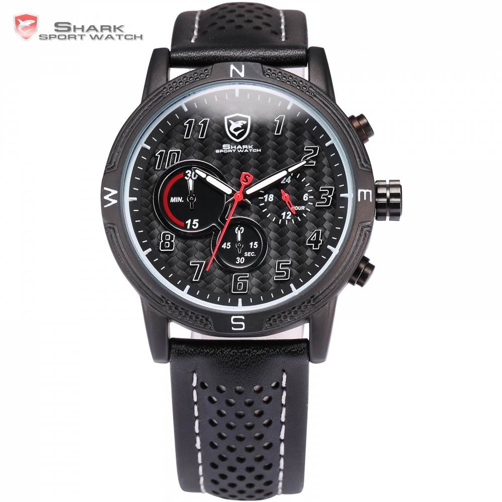 Brand Leather Strap Military Clock Chronograph Black Relogio Masculino Men Erkek Kol Saati Military Shark Sport Watch / SH254 frilled shark sport watch relogio black chronograph stopwatch 3 dial leather strap clock quartz military men wrist watch sh225