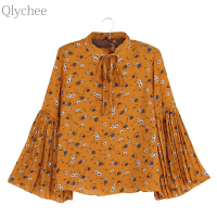 Qlychee Bow Tie Flower Print Flare Sleeve Blouse Women Summer Korean Long Sleeve Cute Shirts