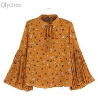 Qlychee Bow Tie Flower Print Flare Sleeve Blouse Women Summer Korean Long Sleeve Cute Shirts