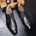 Male Pointed toe Derby Shoes Split Leather Breathable Casual shoes Men Flats Spring Autumn Lace-Up Business shoes 022