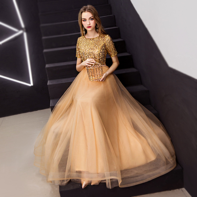 A-line Evening Dresses Elegant O-neck Sequined Long Women Formal Prom Dress Short Sleeve Lace Up Plus Size Long Party Gowns E378