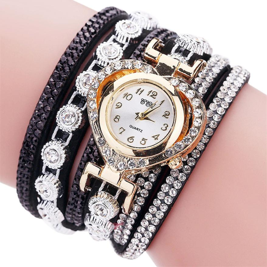 Women Rhinestone Crystal Bracelet Dial Analog Quartz Wrist Watch Relogio Feminino reloj mujer montre femme Drop Shipping 17Jul06 weiqin luxury gold wrist watch for women rhinestone crystal fashion ladies analog quartz watch reloj mujer clock female relogios