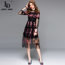 LD LINDA DELLA Fashion Designer Autumn Dress Women's 3/4 Sleeve Sexy Overlay Lace Mesh Flower Embroidery Vintage Dress vestido