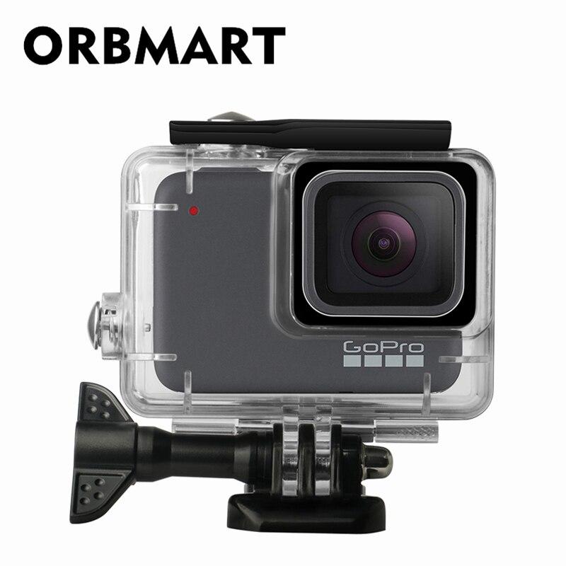 ORBMART 45 mt Wasserdicht Fall Abdeckung Gehäuse Für Go Pro Gopro Hero 7 Weiß Silber Sport Kamera Unterwasser Schutz Shell